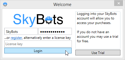 Login into SkyBots